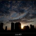 Warsaw city sunset